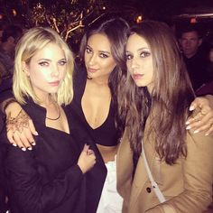 We love this photo of Ashley Benson, Shay Mitchell, and Troian Bellisario at the season 5 wrap party! | Pretty Little Liars