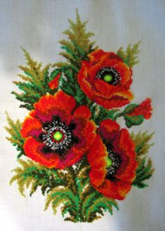 Beautiful red poppies, cross stitch by Plushyk Cross Stitch Kits, Cross Stitch Charts, Cross Stitch Patterns, Cross Stitching, Cross Stitch Embroidery, Poppy Craft, Flower Chart, Decoupage, Embroidery Patterns Free