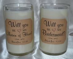 Will you be my Bridesmade-Custom Reclaimed Wine Bottle Candles & Decor