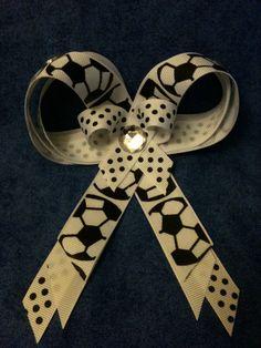 Soccer Ribbon Hair Bow Clip/Girls/Adult/polka dots/sports bow/Halloween. $3.99, via Etsy.