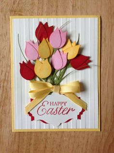 Items similar to Stampin Up handmade all occasion,spring, happy easter card - bouquet of tulips on Etsy