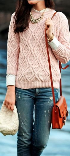 Love this sweater! The color is so soft and girly. The bag is the perfect accessory! @Sarah Vickers