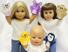 Hand Puppets to embroider on your machine for your dolls