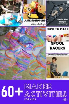 You and your kids are going to love these maker activities! Find design builds, tinker trays, invitations to play, and more to make today! #makeractivities #STEMeducation #tinker #preschoolSTEM #makerprojects Spring Activities, Easy Crafts For Kids, Craft Activities For Kids, Science For Kids, Toddler Crafts, Learning Activities, Projects For Kids, Space Activities, Rube Goldberg Projects