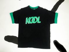 90s KOOL Cigarettes T Shirt / Color Block Cuff Sleeves and Collar / XL / Grunge / Novelty / Black / Green / Menthols / Camel / Club Kid / by badatpettingcats on Etsy