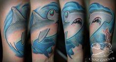 New School Hammer Head Shark Tattoo. Artist - Chaz Garner