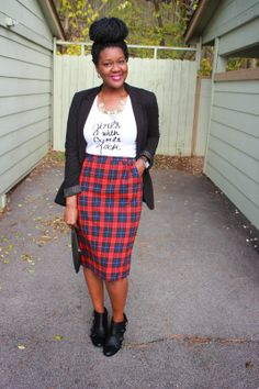 Chioma's Evolution of Style: Vintage Plaid Pencil Skirt