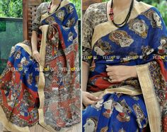 FACE ME  1  Kalamkari faces print on Maheshwari cotton saree with zari borders  Blouse - Off white and black printed blouse material provided. Price - 3899 INR  Kindly email us to yellowkurti@gmail.com for Orders ! 15 June 2016