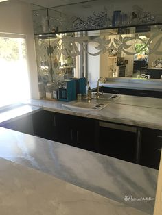 Want to know if you can paint over granite counter tops? I turned my ugly granite into gorgeous faux marble counters with just primer and paint. Painted Granite Countertops, Faux Granite, Painting Countertops, Marble Counters, Granite Paint, Granite Kitchen Table, Granite Table Top, Diy Kitchen, Kitchen Countertops