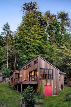 A bit bigger than tiny but.... http://smallhousebliss.com/2013/10/18/a-cottage-in-the-redwoods-by-cathy-schwabe/