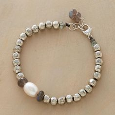 STERLING NUGGET BRACELET--Hammered sterling silverplated beads lend organic texture and weight to this handcrafted statement piece with a pearl at its center. Drops of aquamarine and labradorites dangle at clasp. Exclusive. Fits 7-1/2 to 8 wrists.