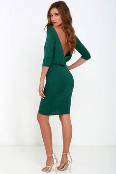 Chic Forest Green Dress - Jersey Knit Dress - Backless Dress - $38.00