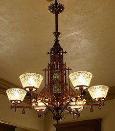 Bradley & Hubbard gas chandelier