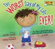 """The Worst Day of My Life EVER!"" on TeachersNotebook.com. RJ has had a rough day! He wakes up with gum stuck in his hair, misses recess because he is late to school and gets caught running in the hall, earns a zero on his math homework, kicks the ball into his own team's soccer goal, and messes up his mom's kitchen with his overflowing pancake batter! K-6 readers learn the rhyming steps to the skills of listening and following instructions that can turn bad days into great ones!"
