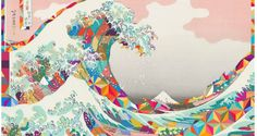 A genre of science fiction and a lawless subculture in an oppressive society dominated by computer technology and big corporations. Art And Illustration, Hokusai Great Wave, Frida Art, Wave Art, Japanese Patterns, Japanese Artists, Asian Art, Oeuvre D'art, Book Design