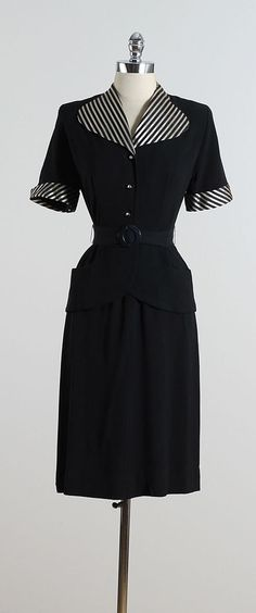 RAVEN CREST ➳ vintage 1940s dress * black rayon crepe * striped collar & sleeves * button front with metal zipper * rhinestone accents on buttons *