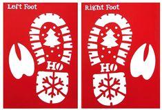 Santa & Rudolph Footprints Stencil. Left & Right footprints & sachet of glitter snow. Santa's feet are Size 7/8. | eBay!