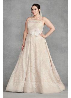 White by Vera Wang Plus Size Macrame Wedding Dress 4XL8VW351400