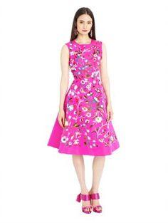 Floral Embroidered Shocking Pink Silk Faille Cocktail Dress, $5,990.00 Oscar de la Renta