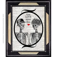 SKELETONS IN LOVE True Love Never Dies skeleton by EphemeraAndMore, $10.00