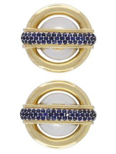 Cartier Aldo Cipullo Rock Crystal and Sapphire Ear Clips in 18K Yellow Gold