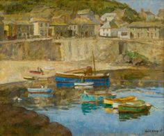 """Harold Harvey,  """"Mousehole Harbour"""",  oil on canvas. Newlyn School of Artists - Penlee House Gallery and Museum Penzance, Cornwall"""