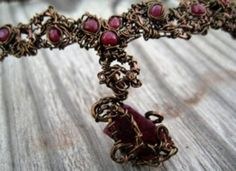 """Entwined Artwear & Gifts"" Custom Artwear Necklace (up close):    Materials: Natural Precious Rubies, ""Entwined"" With Copper."