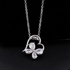 45cm Platinum Plated Fashion Heart Clover Inlay Zircon Pendant Copper Necklace