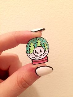Skullglobe Enamel Pin by BanannaBones on Etsy