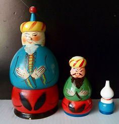 Vtg Made in Poland Polish Wooden Aladdin Nesting Dolls part of the storybook series. Aladdin, Snow White and Cinderella are the rarest of the three stories. Aladdin has gone for bid over 425$ prior to Oct. 2013. | eBay