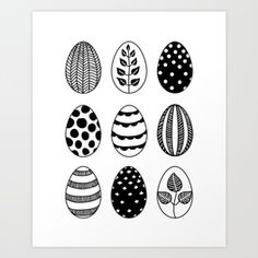 Scandinavian style Easter eggs Art Print