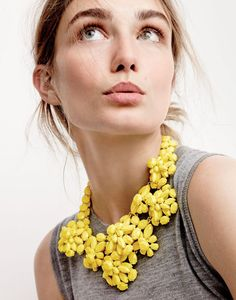 J.Crew women's lightweight Jackie sweater shell and lemon crystal necklace.