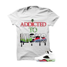 "Addicted To Kicks Pro Star 5s White T Shirt. The Addicted To Kicks Pro Star 5s White T Shirt is a premium quality sneakerhead t shirt. It matches with the Air Jordan 5 Retro ""Pro Star"" Sneakers. *************************************************************** FOLLOW US ON INSTAGRAM: @illCurrency FOLLOW US ON TWITTER: @ill_Currency LIKE US ON FACEBOOK: facebook.com/illcurrency FOLLOW US ON PINTREST: pinterest.com/illcurrency"