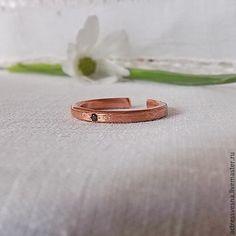 Купить Медное колечко - медь, лавандовый, белый фон, кольцо ручной работы, кольцо с камнем