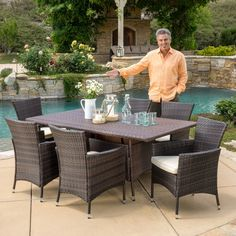 Christopher Knight Home Jennifer Outdoor 7-piece Wicker Dining Set with Cushions - Overstock Shopping - Big Discounts on Christopher Knight Home Dining Sets