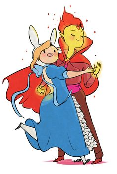 Adventure Time. Flame Prince and Fionna at the ball. Super cute. :3