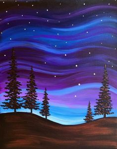 Browse our upcoming painting classes and events at Exton Pinot's Palette! Reserve your seat for the best paint and sip experience today! Simple Canvas Paintings, Easy Canvas Painting, Diy Canvas, Diy Painting, Painting & Drawing, Canvas Ideas, Easy Acrylic Paintings, Sillouette Painting, Blue Painting