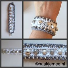 Free crochet pattern: ARMBAND - Freubelweb - Look what I found on Freubelweb.nl: a free crochet pattern from Haak je mee to make this fun bracel - Crochet Bracelet Pattern, Bead Crochet, Crochet Patterns, Free Crochet, Ribbon Jewelry, Diy Jewelry, Jewelery, Jewelry Making, Boho Accessories
