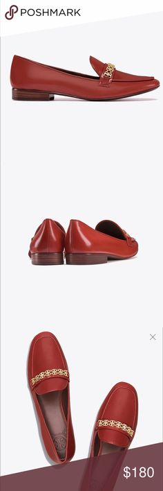 Tory Burch Red/Gold Gemini Link Loafers sz 7 Brand new in box and dust