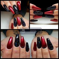 Gearbeitet mit folgenden Produkten von Graffdesign - shoppen auch ohne Gewerbeschein möglich :-) Metallic Berry Red  schwarz glitzer  #nailart #uvgel #nageldesign #naildesign #schönenägel #lovelynails #Graffdesign #nagelkunst