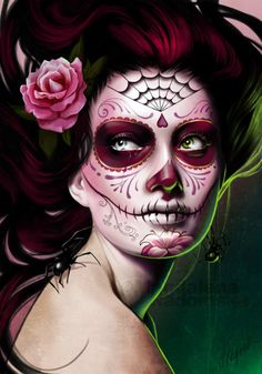 sugar skull face paint we heart Sugar Skull Make Up, Sugar Skull Face Paint, Sugar Skull Art, Sugar Skulls, Beautiful Halloween Makeup, The Face, Face And Body, Day Of The Dead Makeup Half Face, Maquillaje Sugar Skull