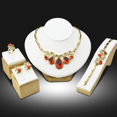 2017 Conjuntos De Jóias de Noiva Ouro Etíope Jóias Parure Bijoux Femme Belas Colares & Pingentes Jóias de Luxo conjunto de joyas