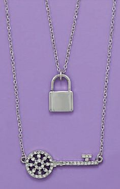 15+3 inch Double Strand Lock and Key Fashion Necklace $14.99 http://www.silvermessages.com/sterlingsilverjewelry/category/silver-plated-necklaces.html