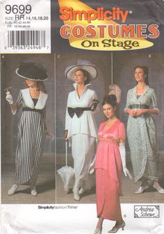 Simplicity 9699  Misses 1900s Costume Pattern My Fair Lady edwardian dress and hat sewing pattern by mbchills