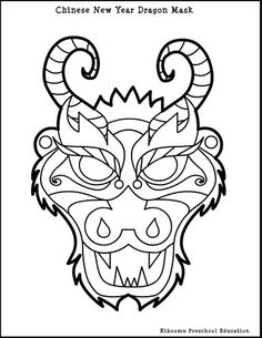 #Chinese New Year Dragon Mask Coloring Page @Kiboomu     -   http://vacationtravelogue.com Easily find the best price and availability   - http://wp.me/p291tj-7d