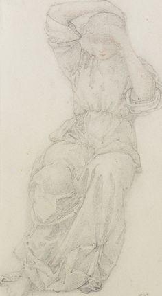 Edward Burne-Jones, graphite sketch of classical figure