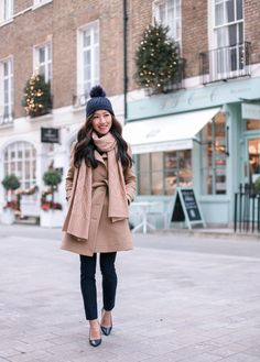 Extra Petite. Navy striped sweater+navy pants+navy pumps+camel coat+camel scarf+navy pompom knit beanie. Winter Casual Business Outfit 2016-2017