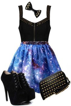Galaxy Skirt + Studs Outfit ♥ Not a fan of the shoes though. Description from pinterest.com. I searched for this on bing.com/images