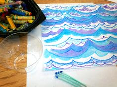 Art With Mr. E: Experimenting Again: Baby Oil & Oil Pastels. Use this on Australia theme night. While the children are doing their art, have some ocean pictures on display, discuss ocean facts.