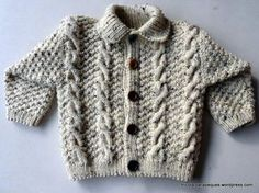 Lovely cardigan for winter. Modelo 16 – Tricotar para peques – Knitting for kids Crochet Boys Sweater Pattern Free, Baby Boy Knitting Patterns, Crochet For Boys, Knitting For Kids, Kids Winter Jackets, Kids Clothes Sale, Kids Clothing Brands, Baby Sweaters, 18 Months